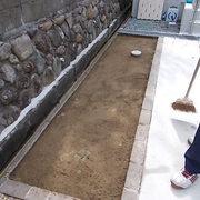 玄関アプローチのコンクリート仕上げ